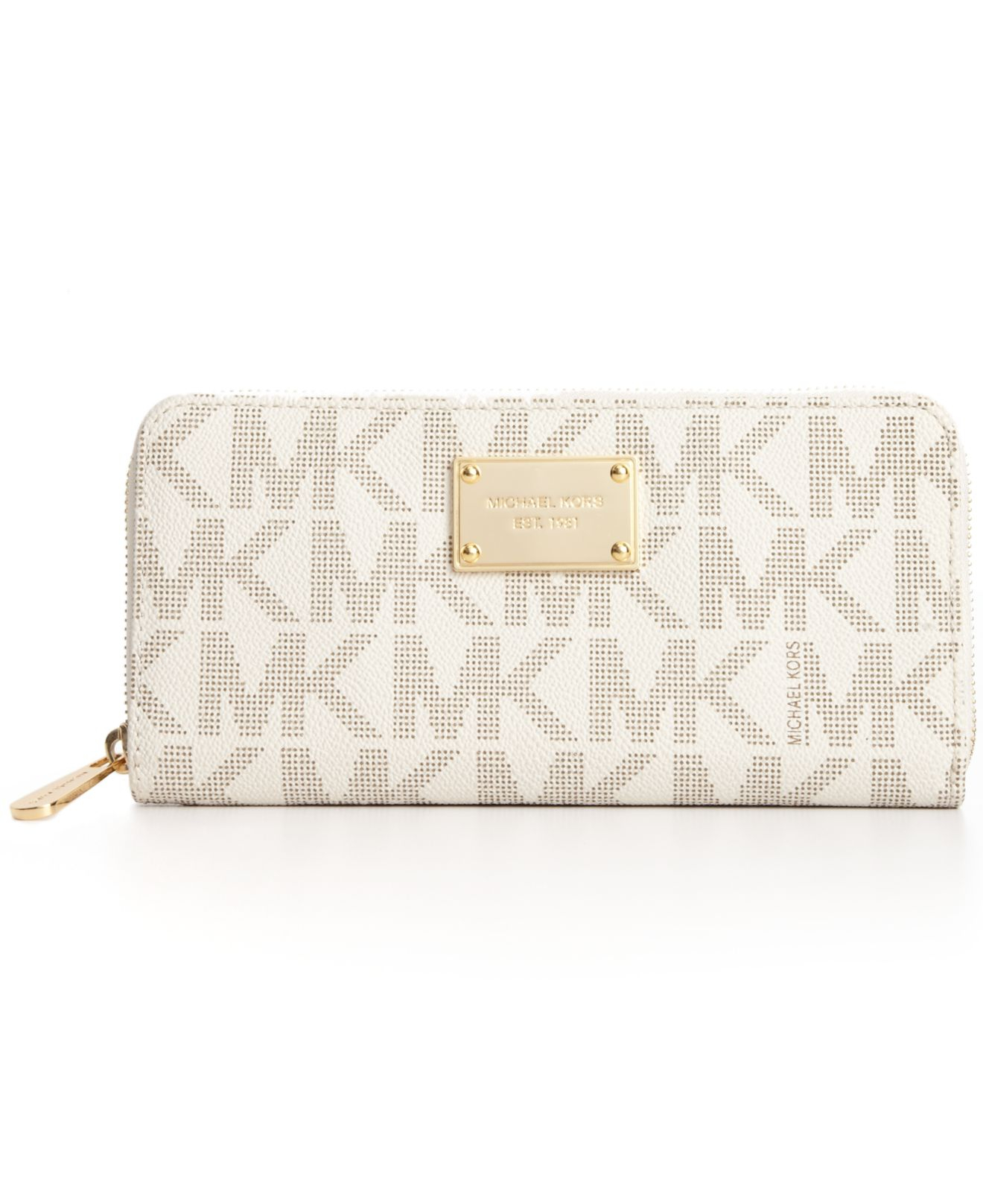 Lyst Michael Michael Kors Continental Logo Wallet In Natural
