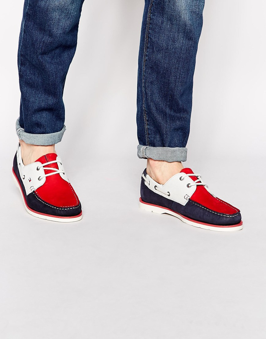 8dfdcbc8709 Lyst - Tommy Hilfiger Nubuck Leather Boat Shoes in Red for Men