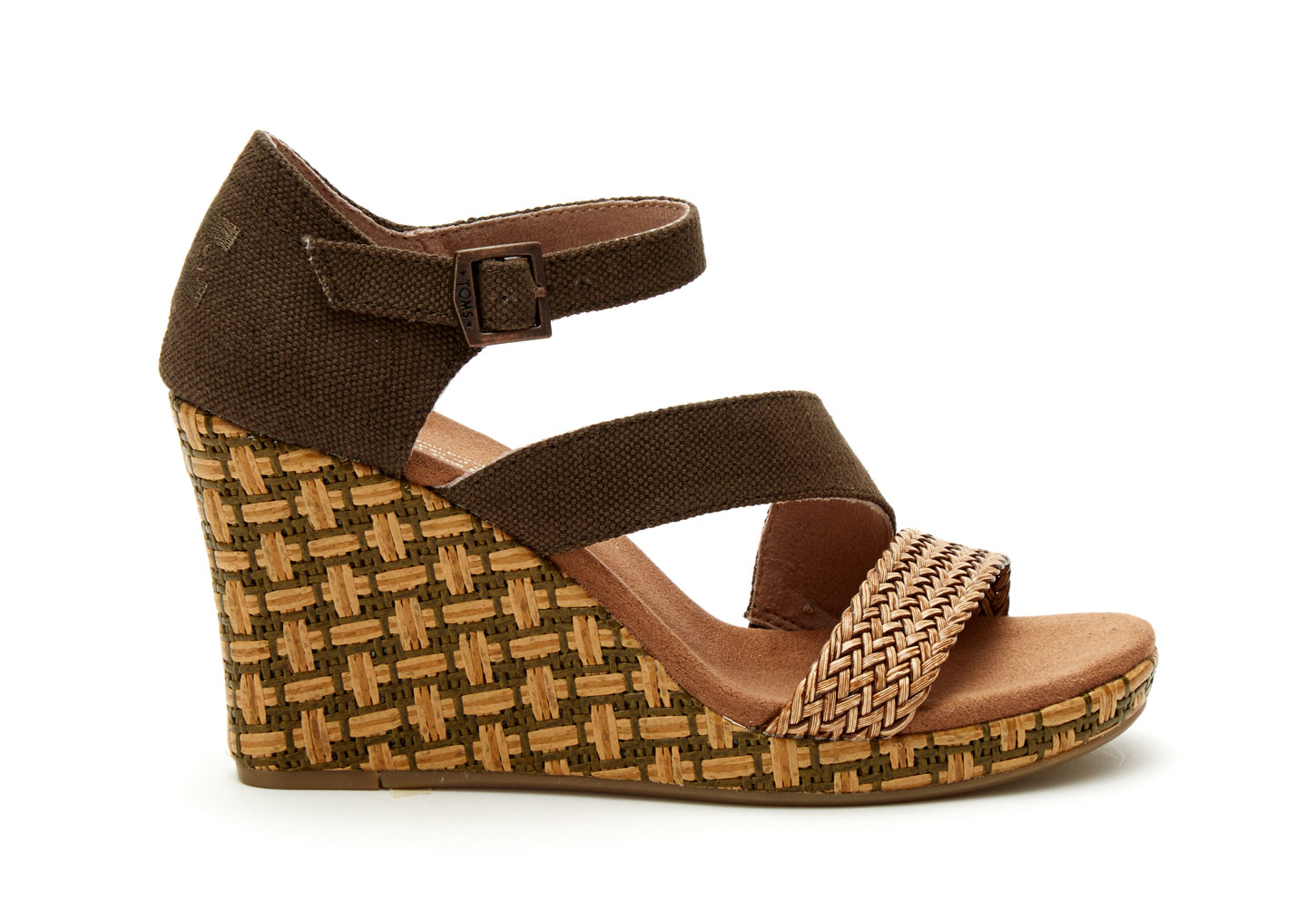 toms olive textile s clarissa wedges in brown lyst