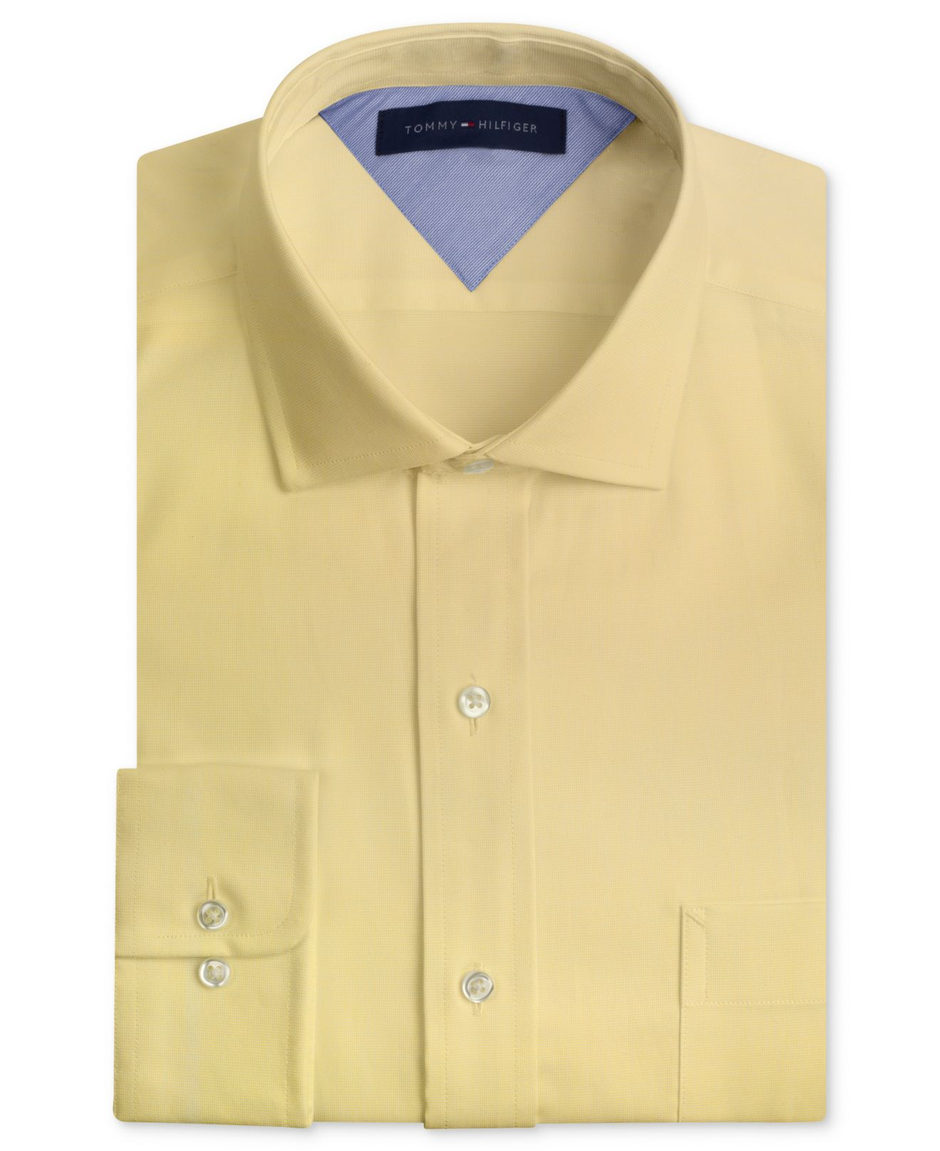 tommy hilfiger slim fit textured solid dress shirt in