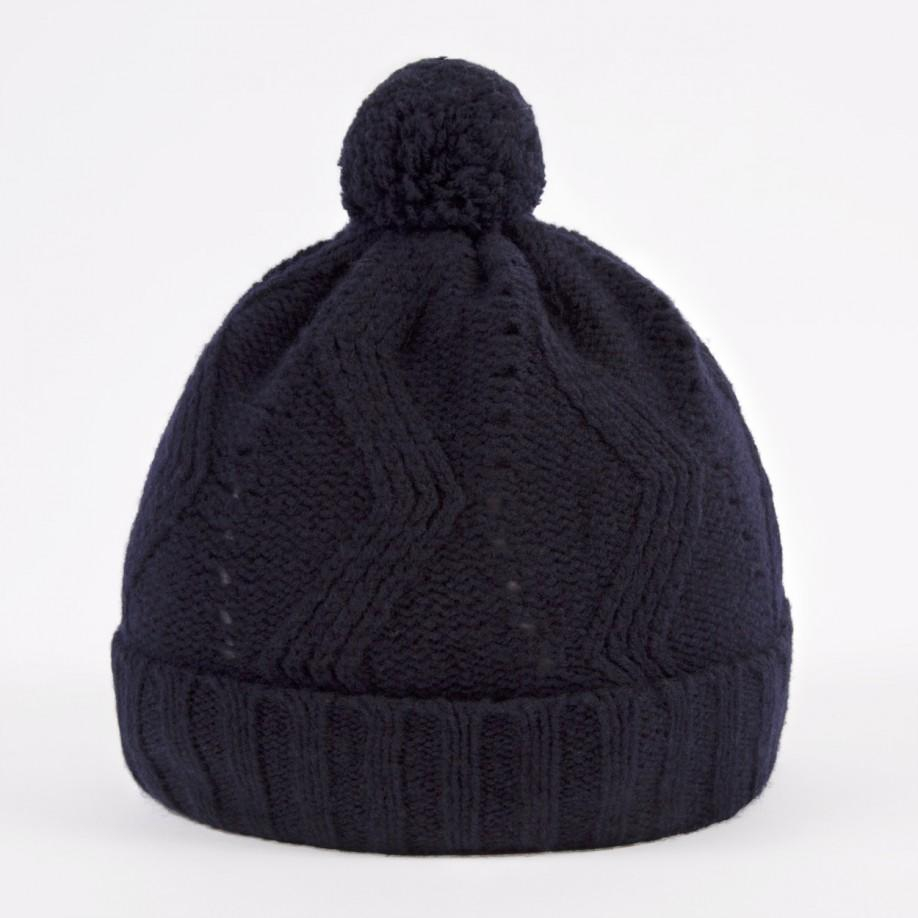 Knitting Pattern Bobble Hats : Paul smith Navy Optical Pattern Knitted Lambswool Bobble Hat in Blu...