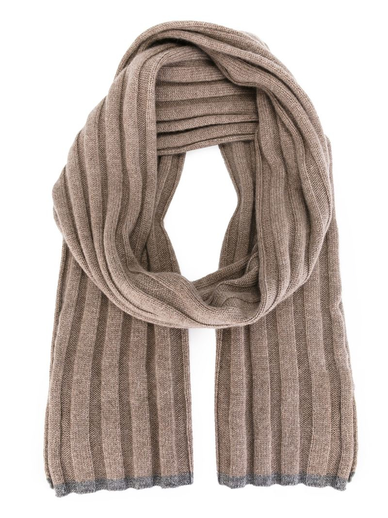 brunello cucinelli ribbed scarf in brown for lyst