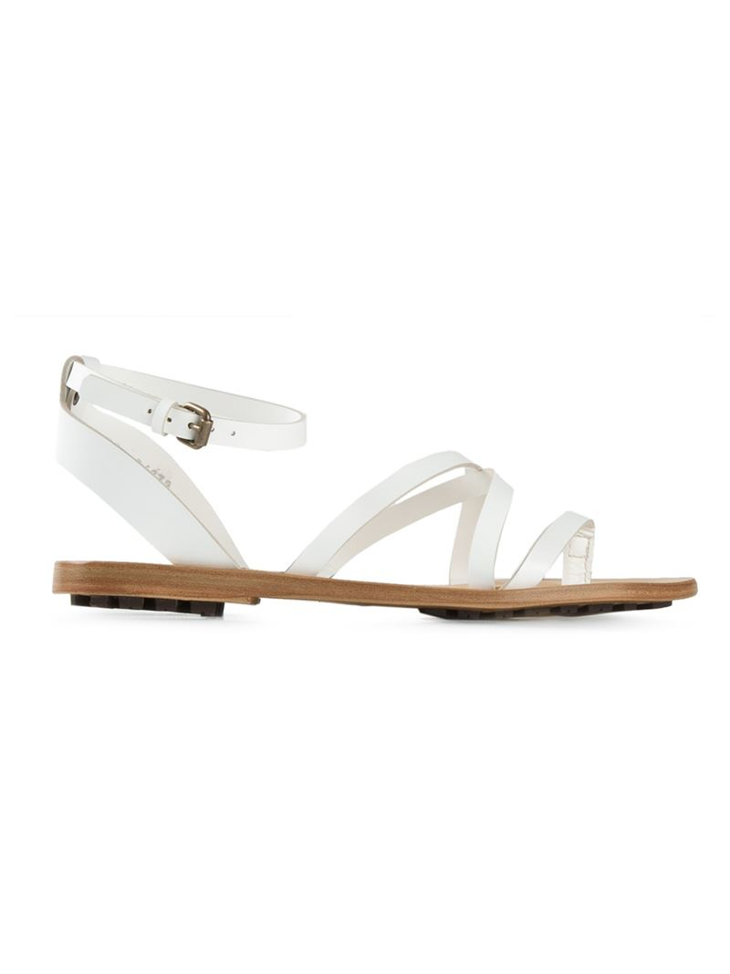 bf0106748ab47 Buttero Strappy Flat Sandals in White - Lyst