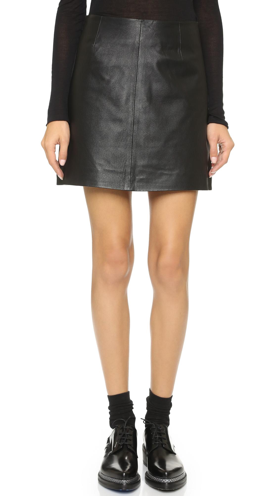 bb dakota emerick leather skirt in black lyst