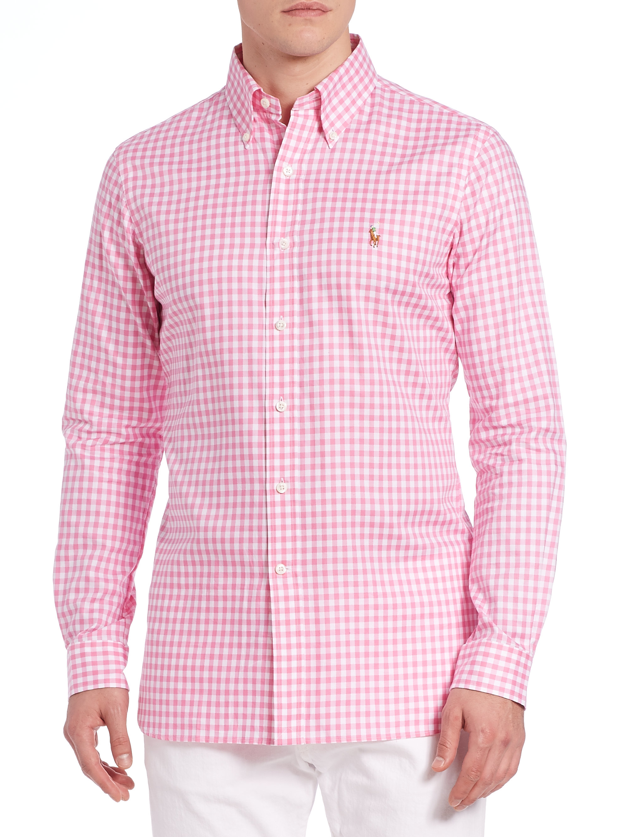 Polo ralph lauren gingham button up in pink for men lyst for Pink and white ralph lauren shirt
