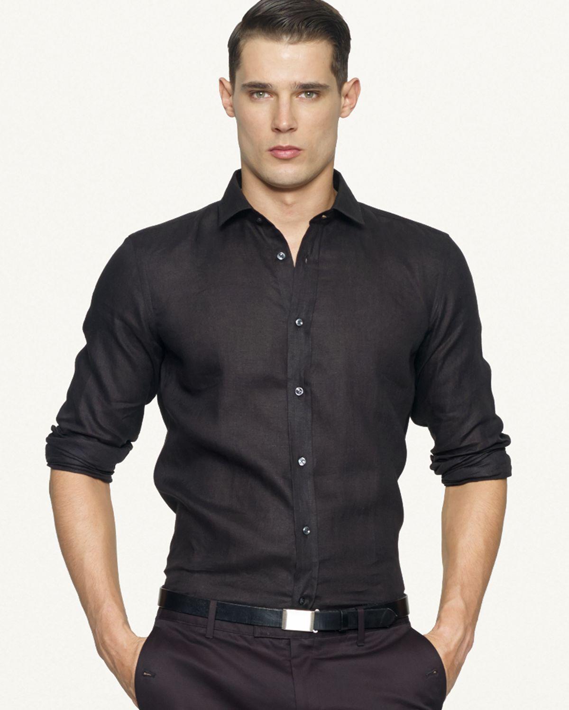 Ralph lauren black label tailored linen sloan sport shirt for Tailored shirts for men