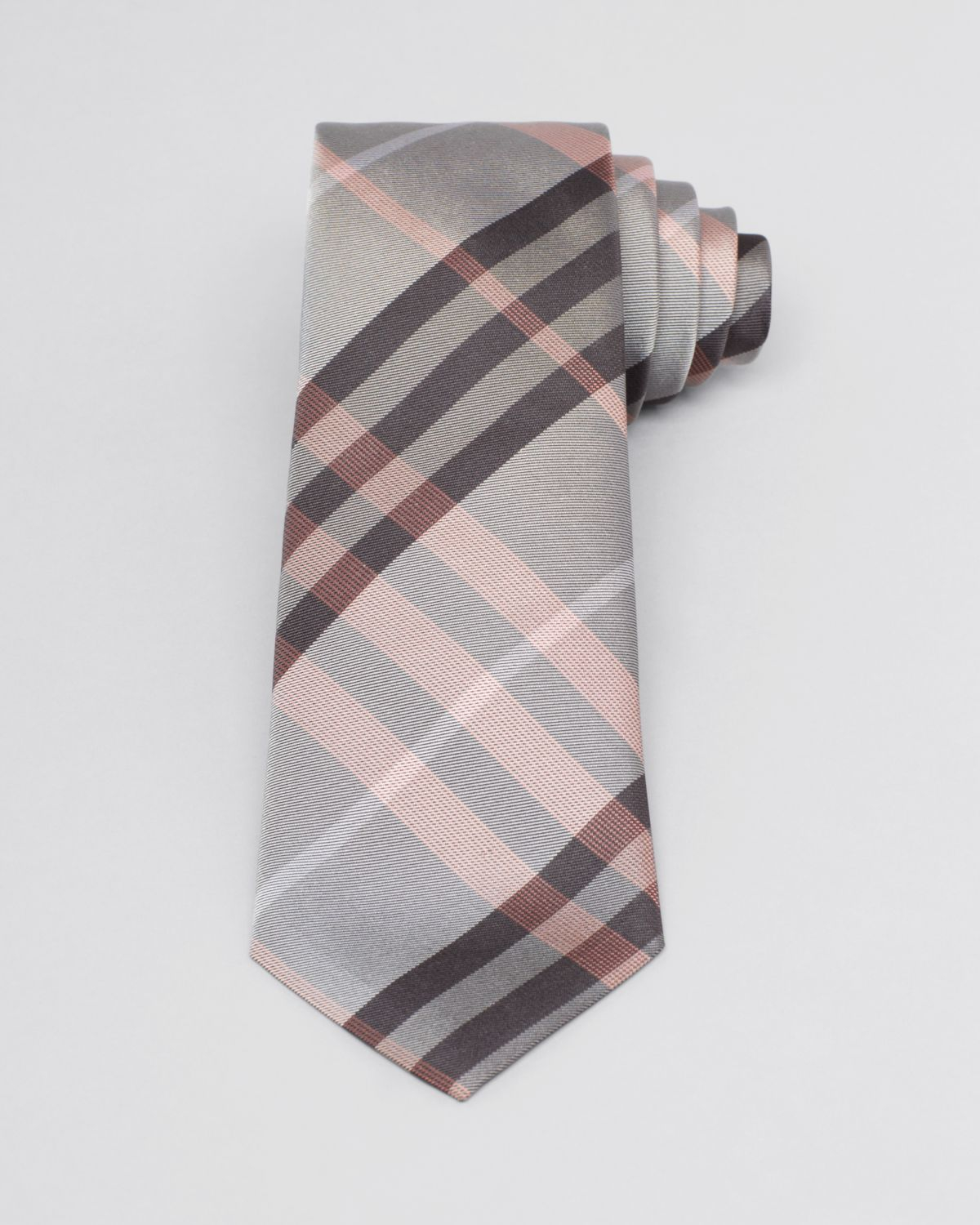 burberry check tie in gray for lyst