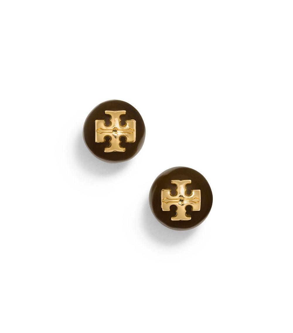 Lyst Tory Burch Resin Logo Stud Earring In Black