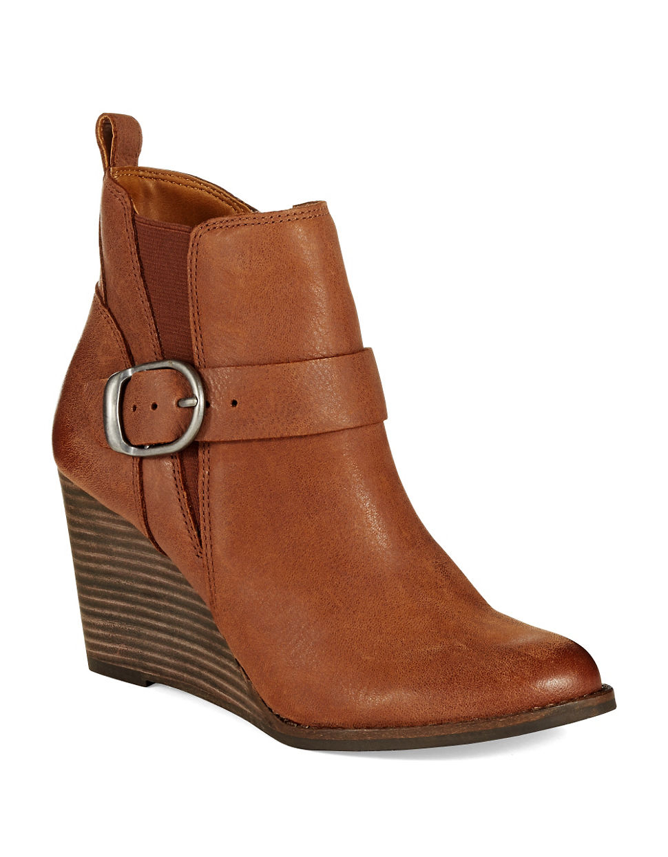 lucky brand yiski wedge booties in brown lyst