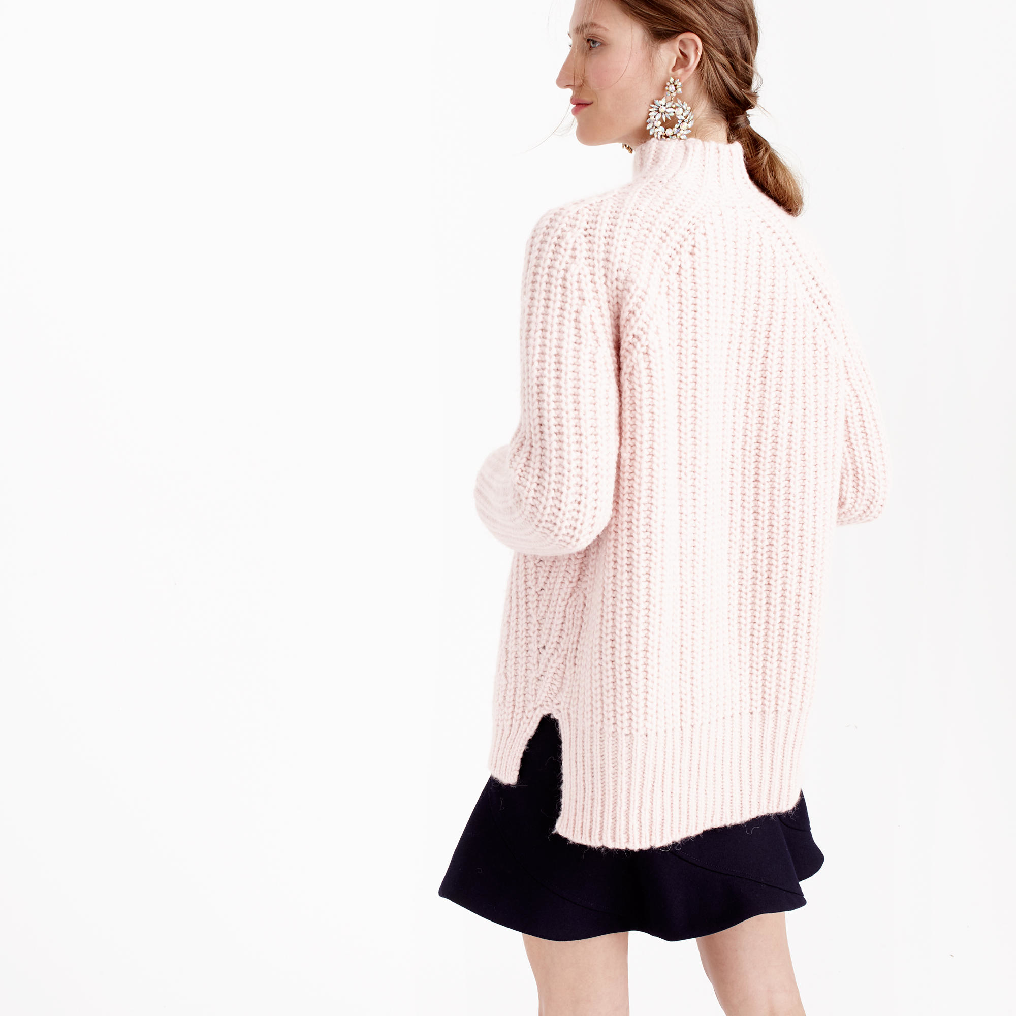 J.crew Collection Chunky Turtleneck Sweater in Pink | Lyst