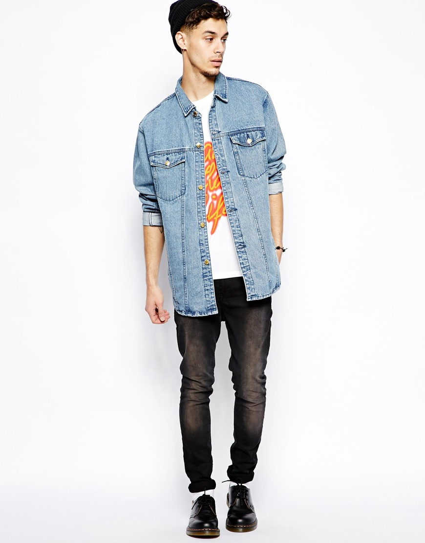 Lyst - Cheap monday Longline Denim Jacket in Blue for Men