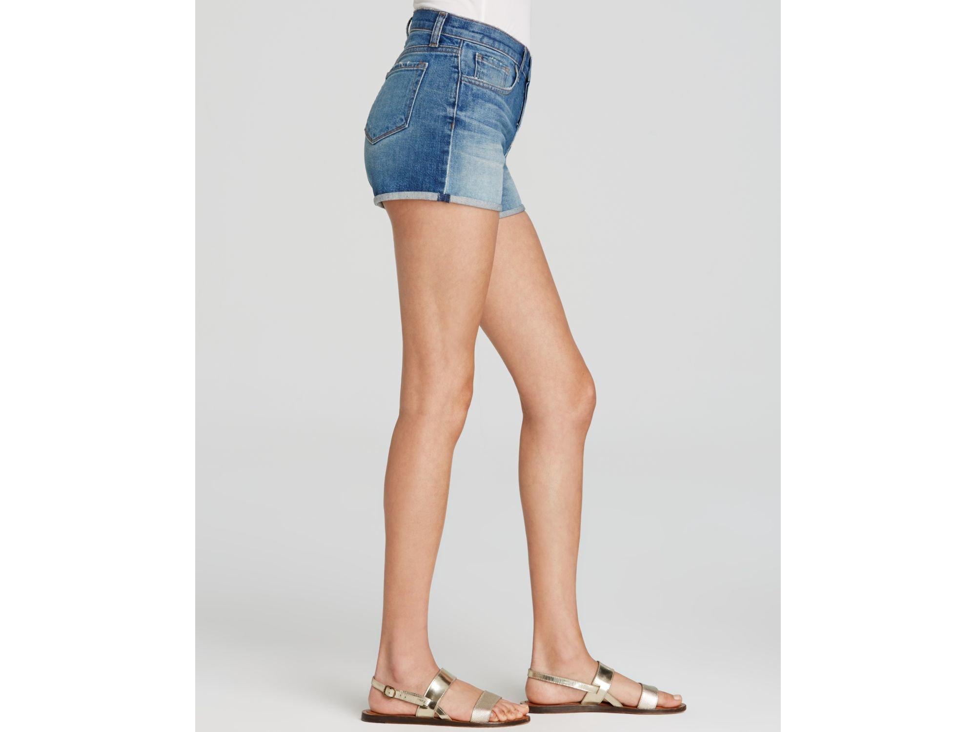 J brand Gracie High Rise Cuffed Denim Shorts in Blue   Lyst