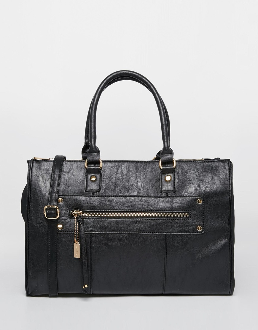Aldo Tote With Zip Front Pocket And Cross Body Strap In