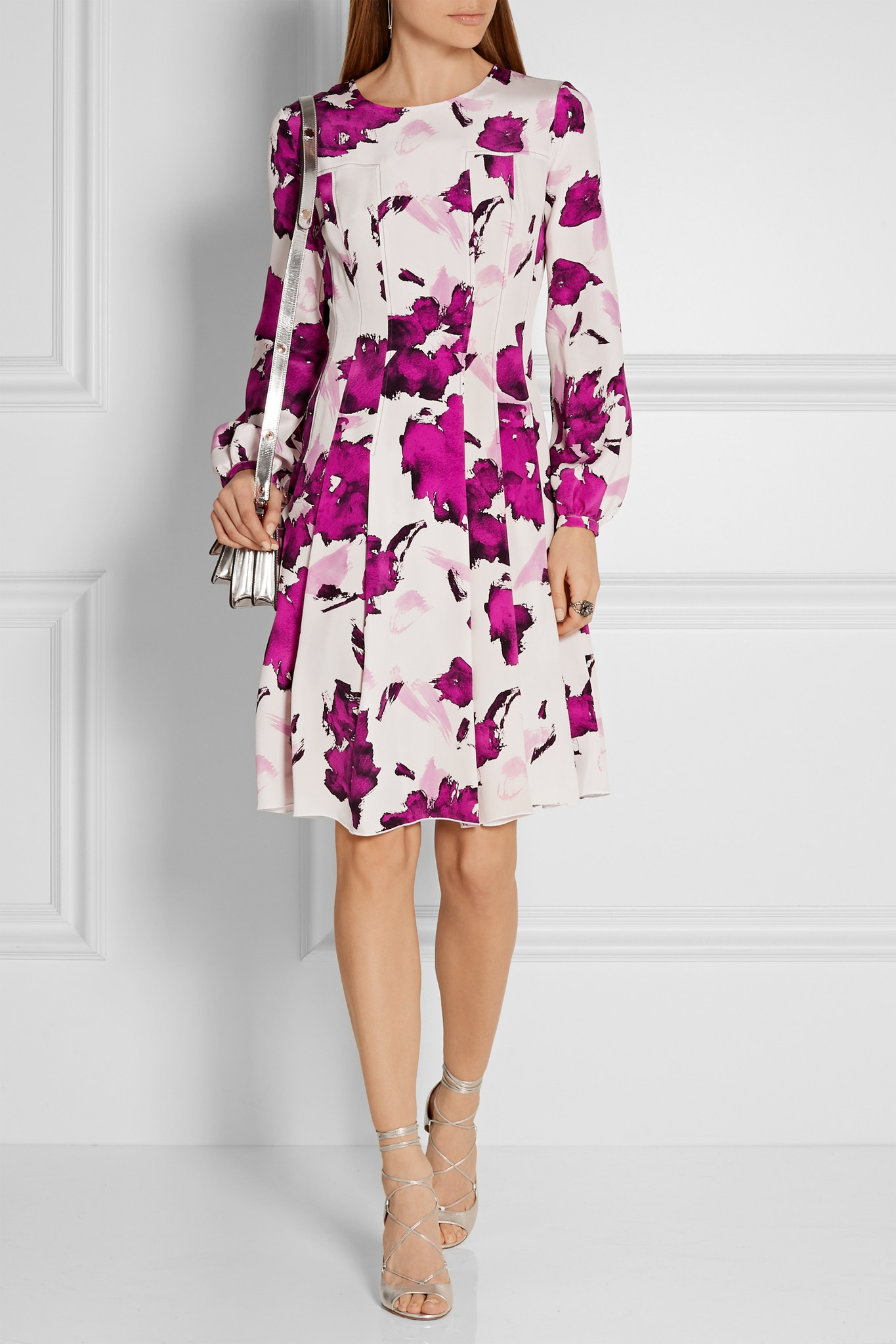 floral-print pleated dress - White Oscar De La Renta K0N2O