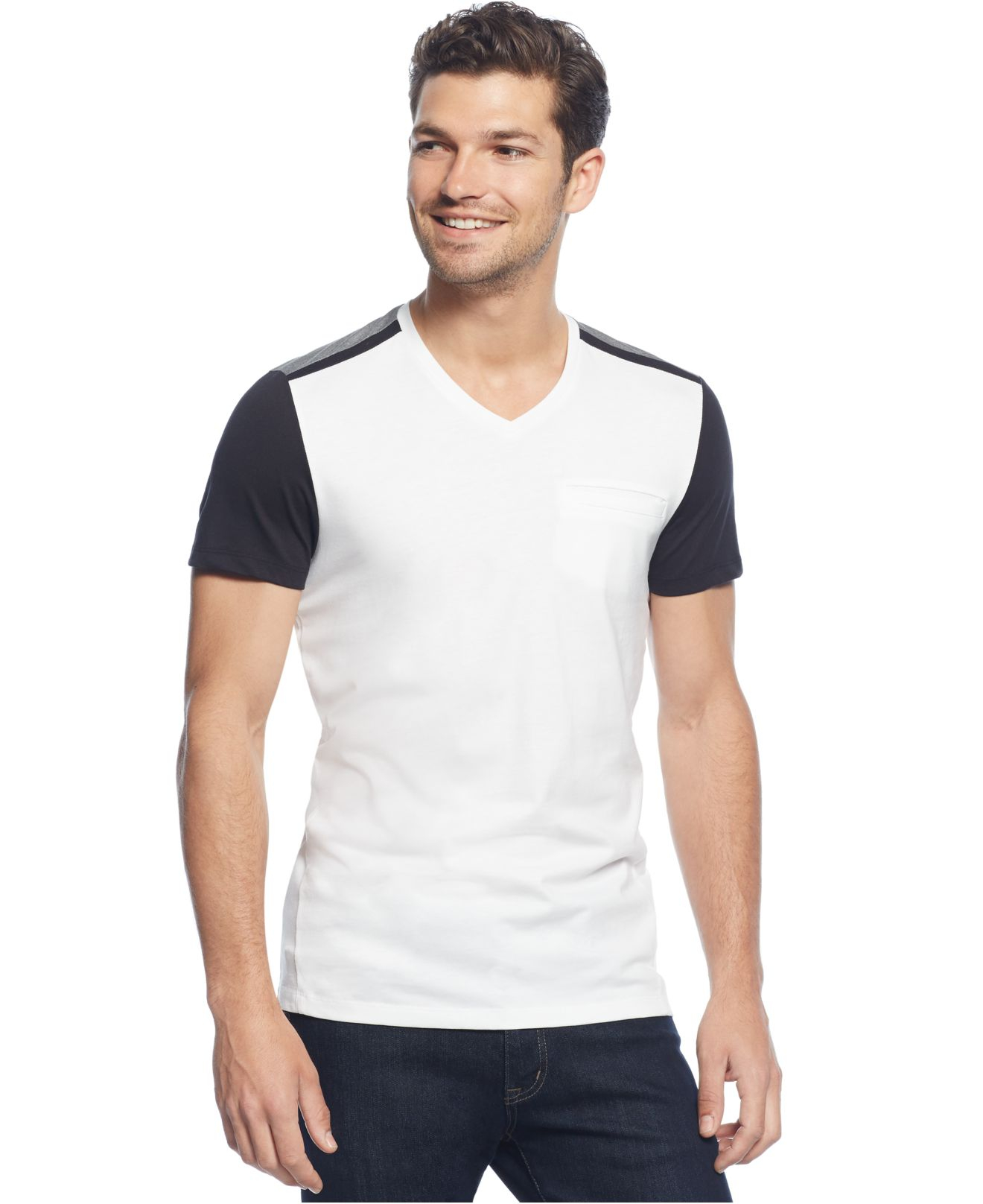 calvin klein colorblocked t shirt in white for men lyst. Black Bedroom Furniture Sets. Home Design Ideas
