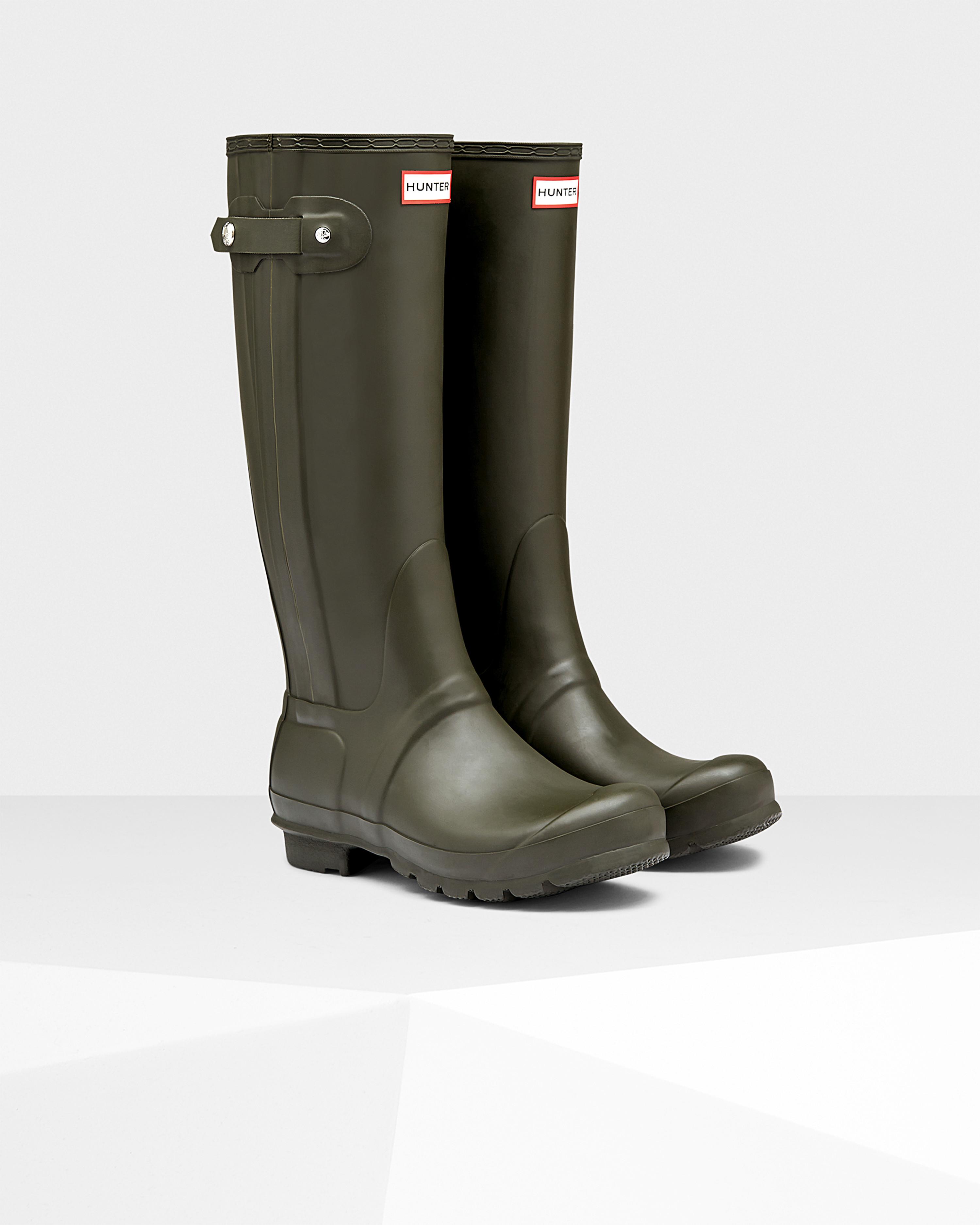 Hunter Women'S Original Slim Zip Rain Boots in Green | Lyst
