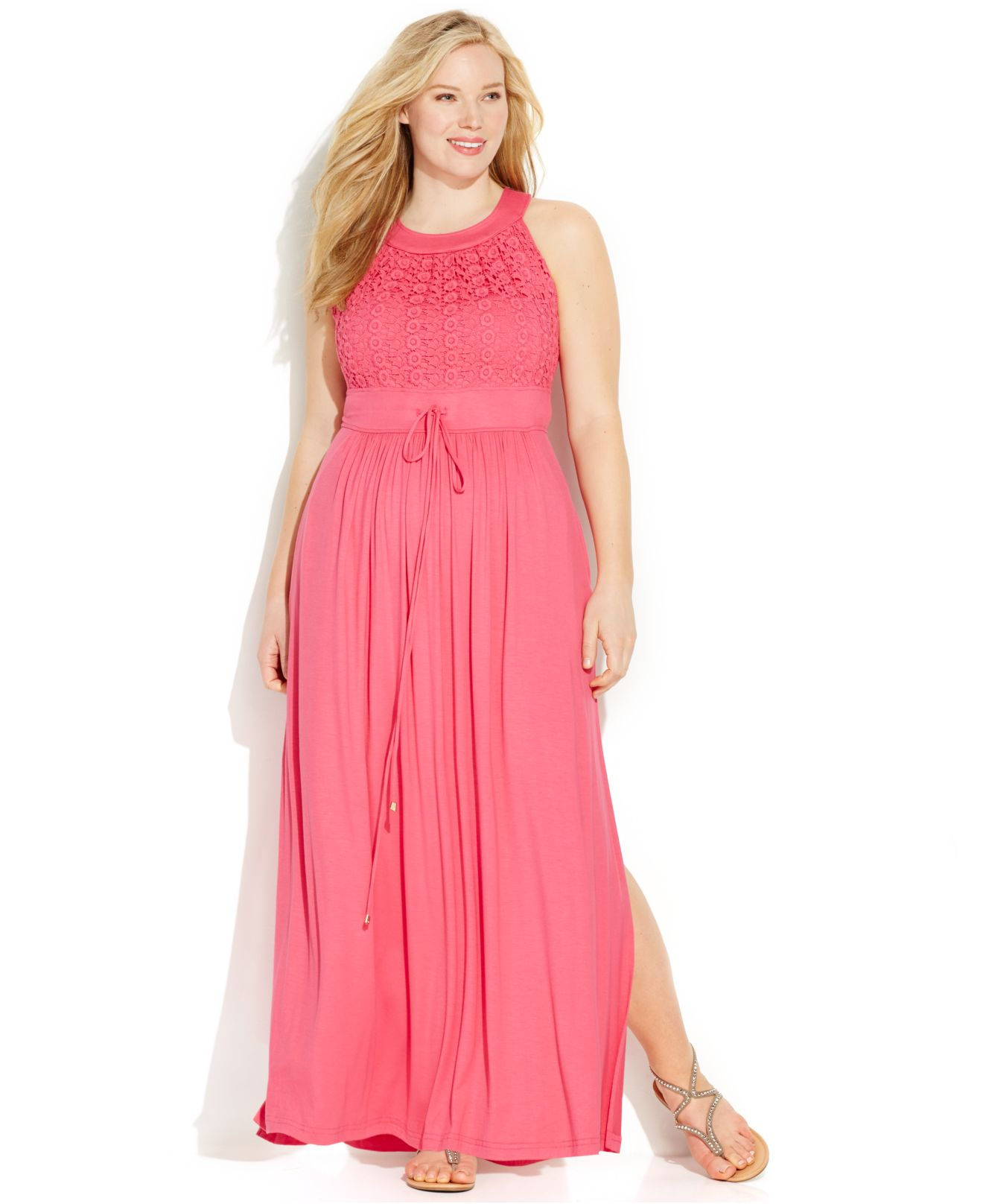 Calvin Klein Pink Plus Size Lace Halter Maxi Dress