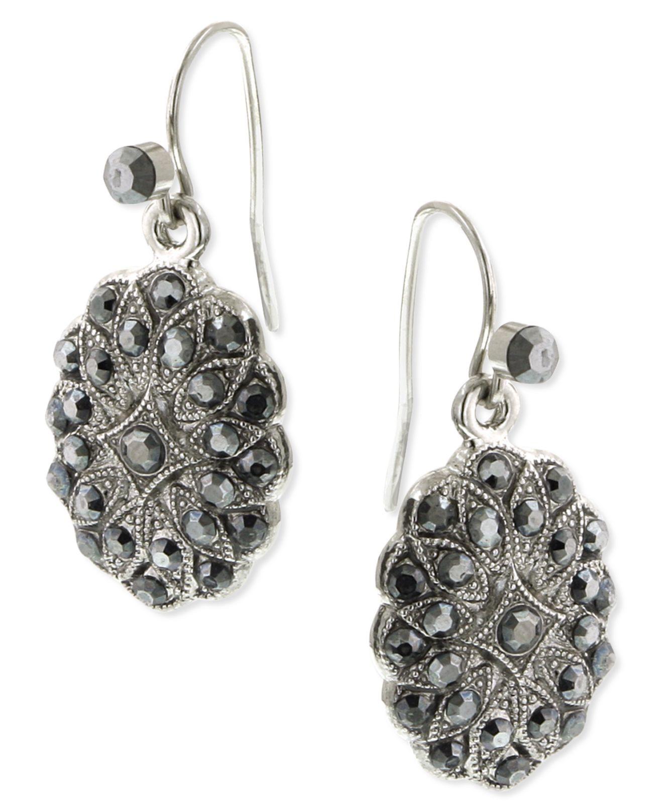 2028 silver tone hematite oval drop earrings in metallic