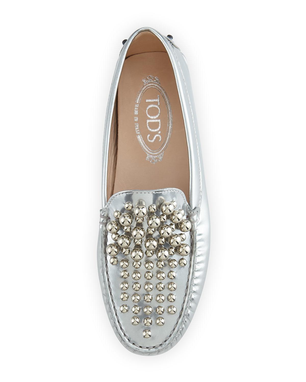 Tod s Embellished Metallic Leather Gommini Loafers in Metallic