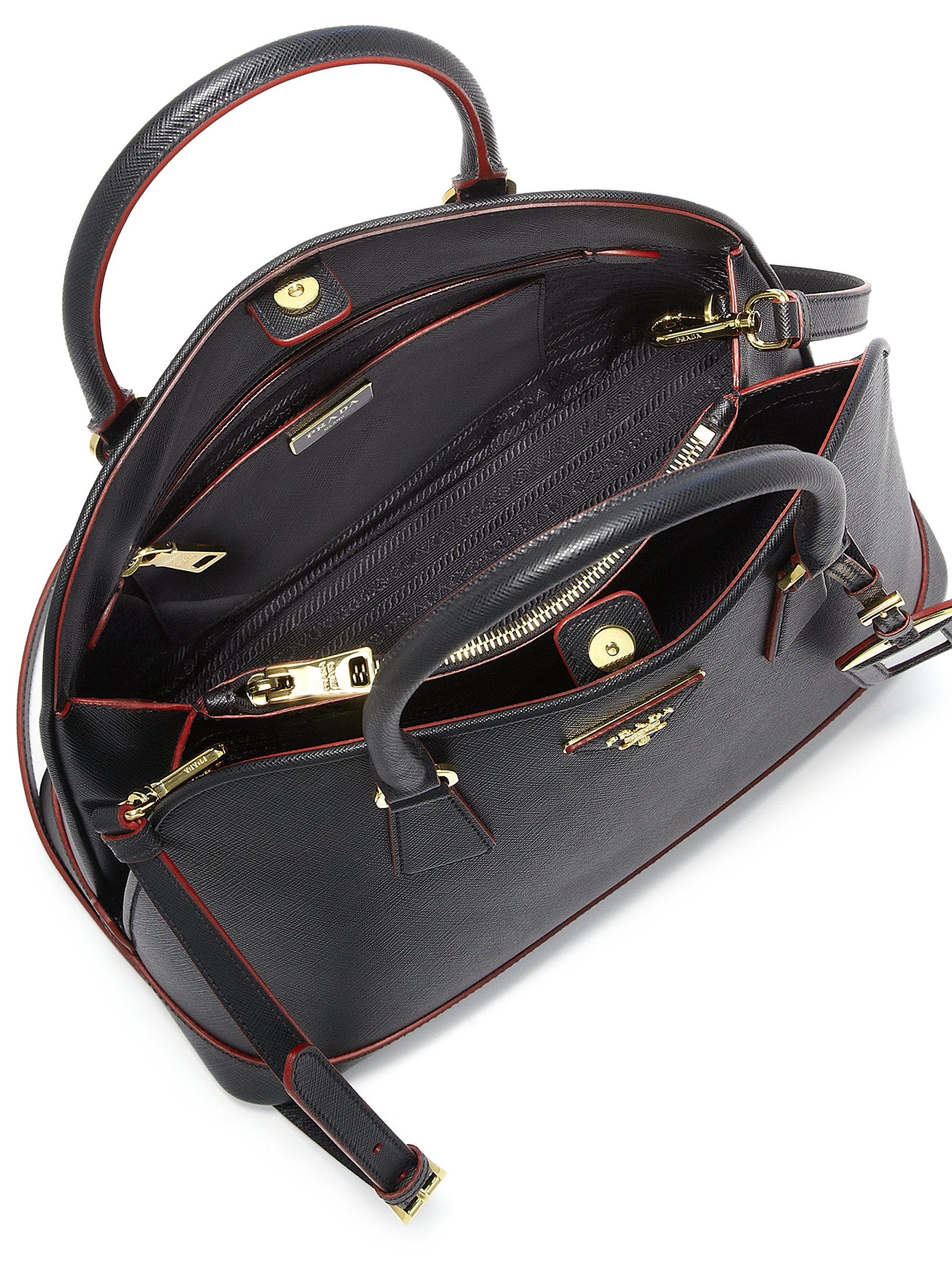 b1b73c911ab6 Lyst - Prada Saffiano Lux Promenade Leather Satchel in Black