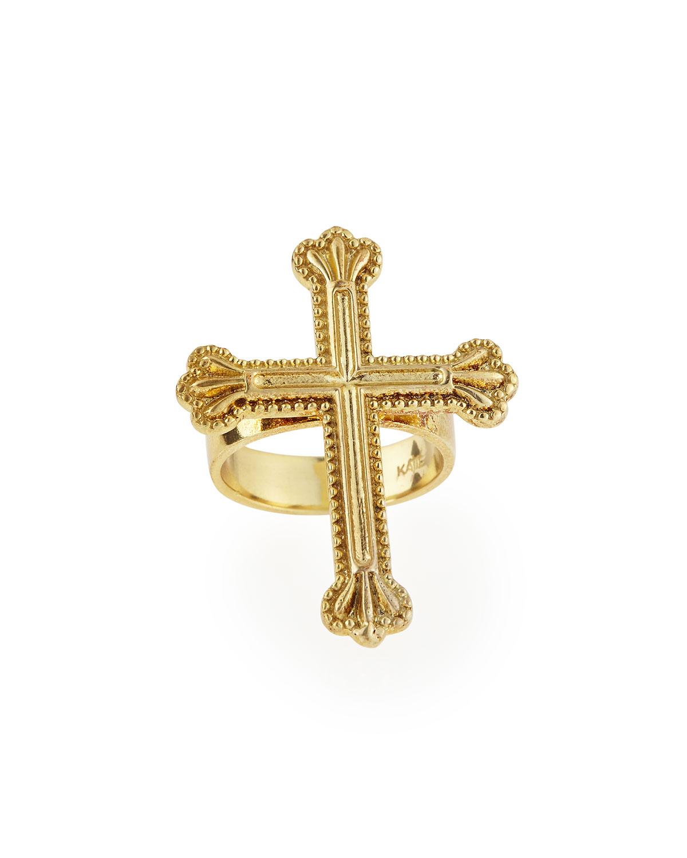 Katie design jewelry Yellow Gold Crown The Cross Ring in Metallic