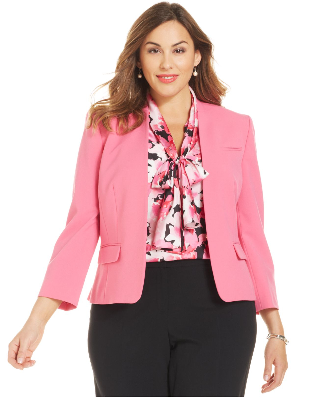 dc05d1a2f9126 Lyst - Nine West Plus Size Collarless Blazer in Pink
