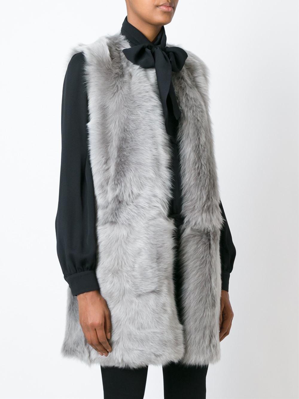 lyst ralph lauren black label shearling long gilet in gray. Black Bedroom Furniture Sets. Home Design Ideas