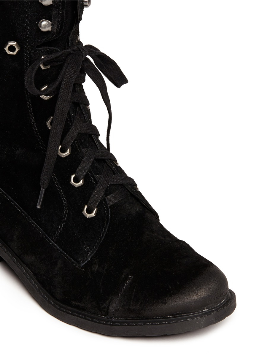 sam edelman darwin suede lace up boots in black lyst