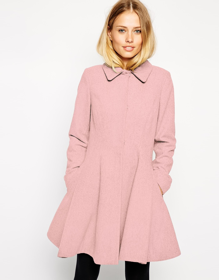 Lyst Asos Dolly Skater Coat In Pink