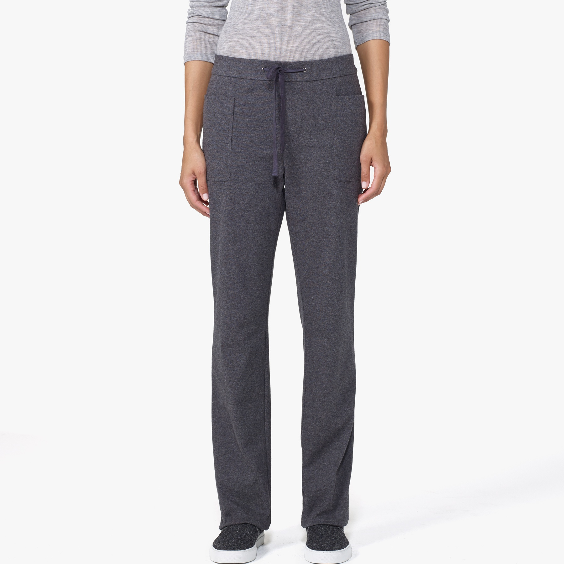 James Perse Knit Straight Leg Pant In Gray Heather