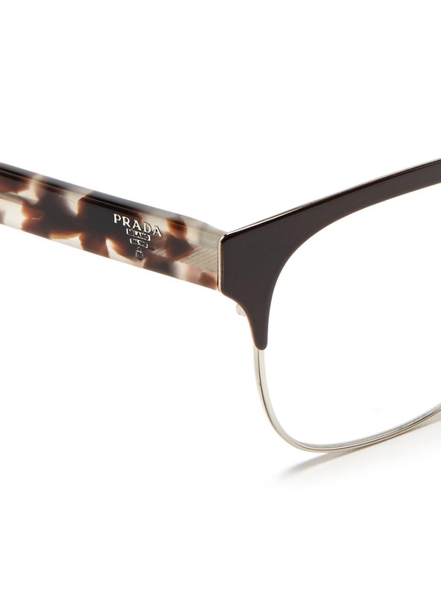 Prada Glasses Frame 2015 : Prada Tortoiseshell Acetate Temple Metal Browline Optical ...