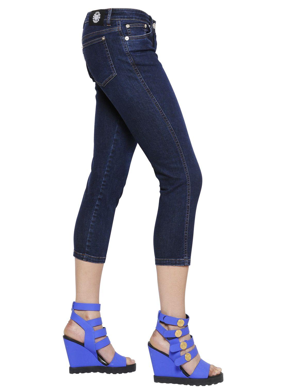 Lyst Kenzo Super Stretch Denim Capri Jeans In Blue