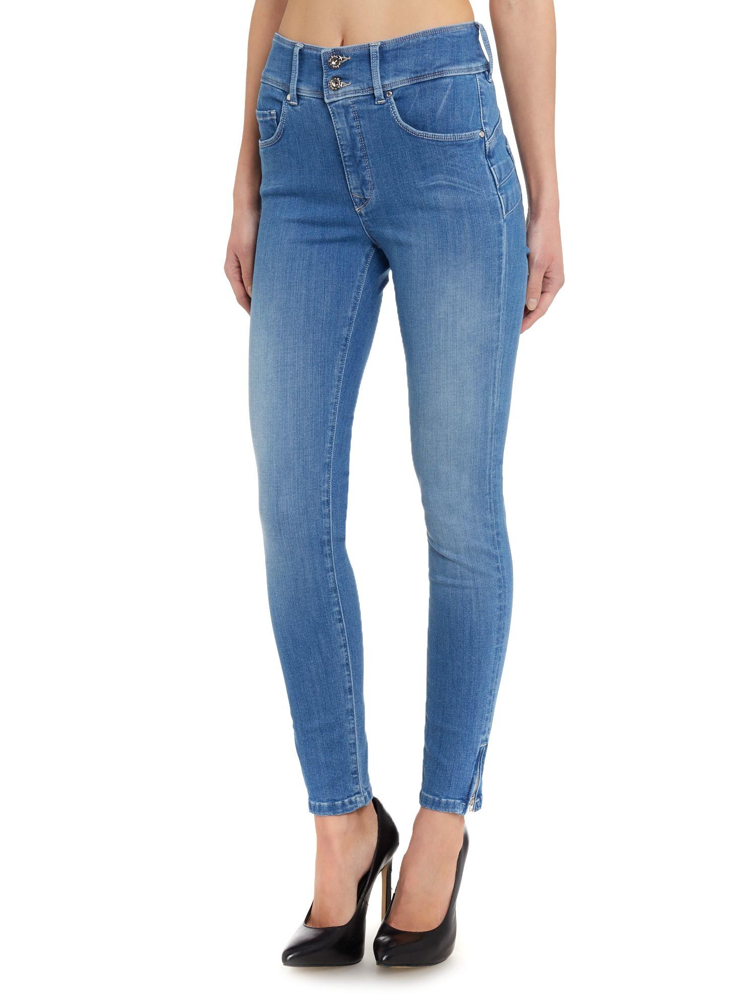 salsa secret push in zip detail capri jeans in blue lyst. Black Bedroom Furniture Sets. Home Design Ideas