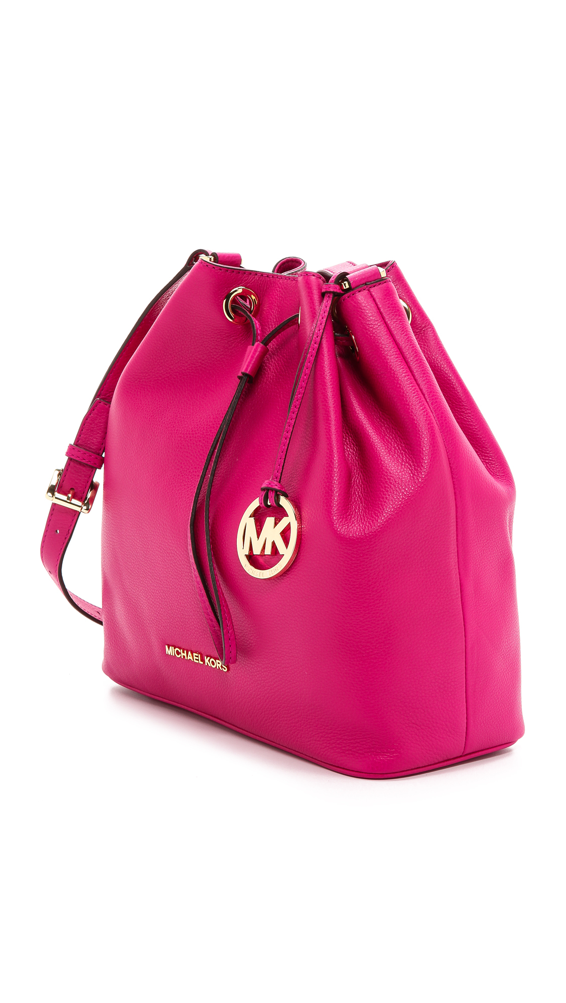 7efc4a4b187cff ... canada lyst michael michael kors jules large drawstring bucket bag  fuschia in pink 6e7fe d2f56