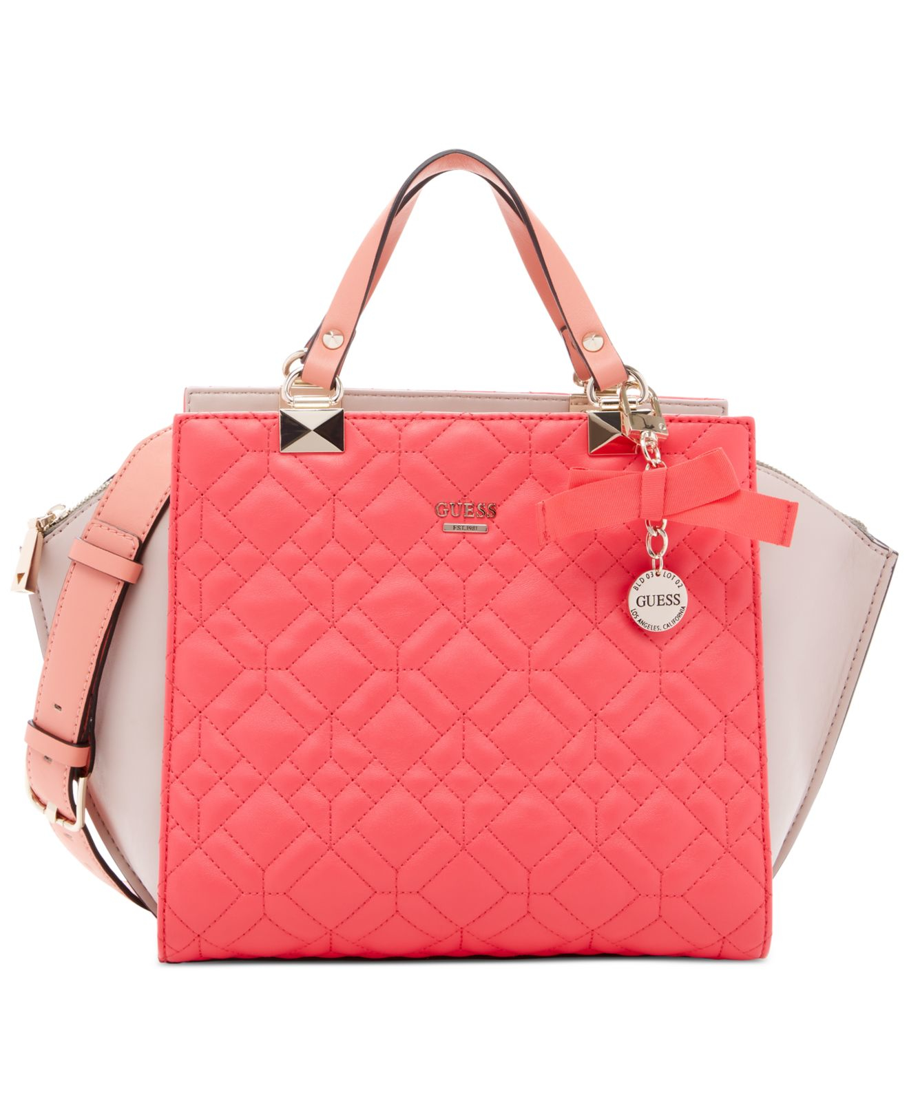 4f1d69cc5132 Lyst - Guess Ines Satchel in Pink
