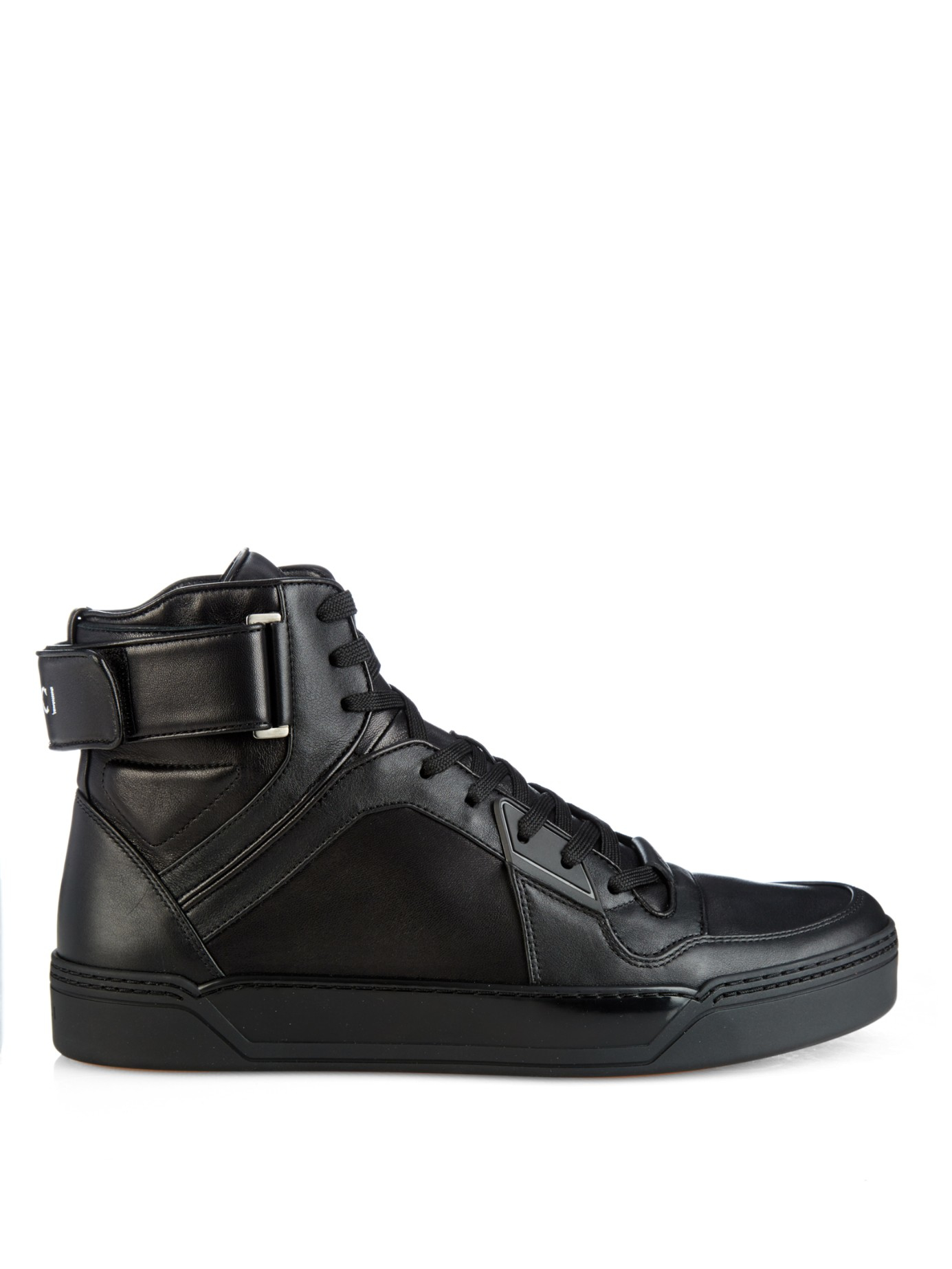 lyst gucci hightop leather sneakers in black for men