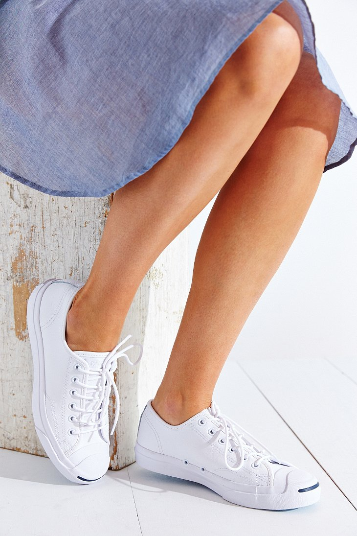 c5766a59f83898 Lyst - Converse Jack Purcell Tumbled Leather Low-Top Sneaker in White
