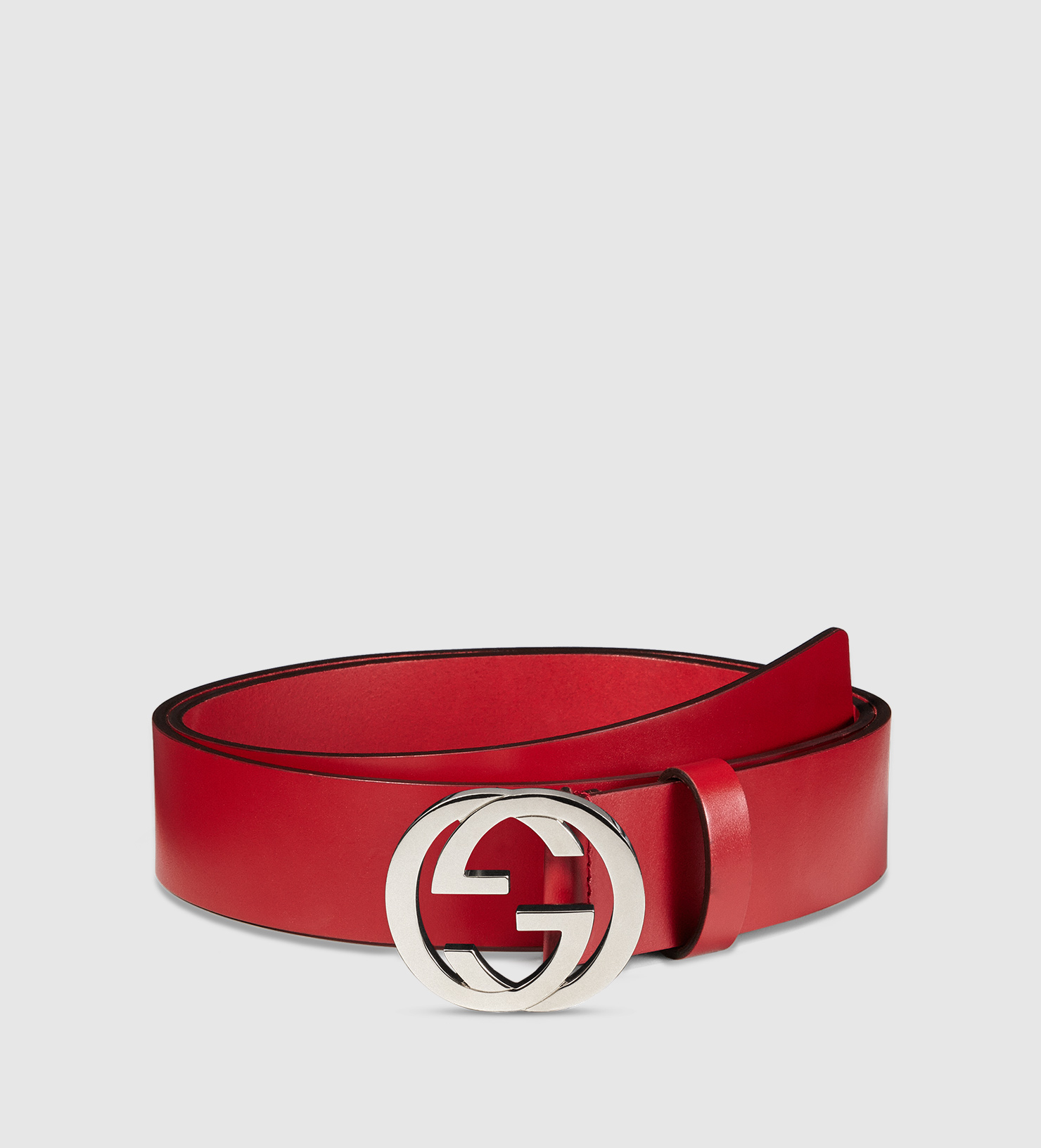 Gucci Leather Belt With Interlocking G Buckle in Red for ...