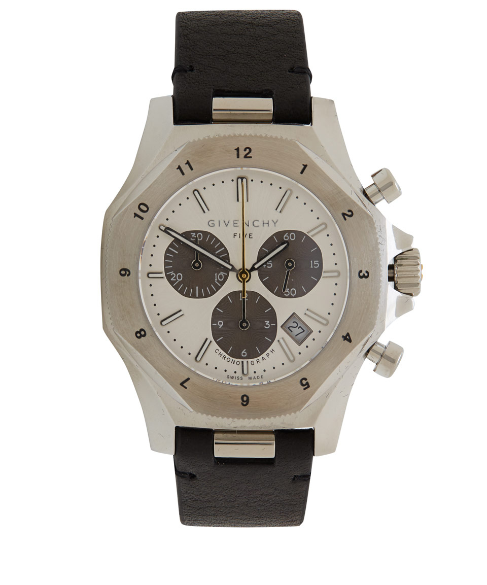 Givenchy silver five 45 chronograph watch in metallic for men lyst for Givenchy watches