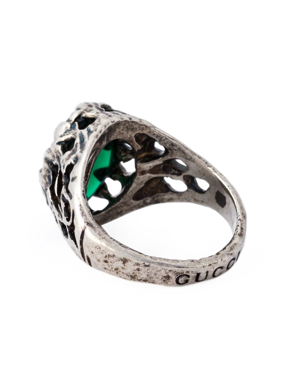 gucci silver and glass ring in green lyst