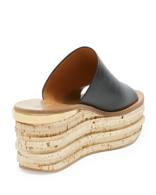 df42b92f69a Lyst - Chloé Slide Cork Wedge Sandal in Black