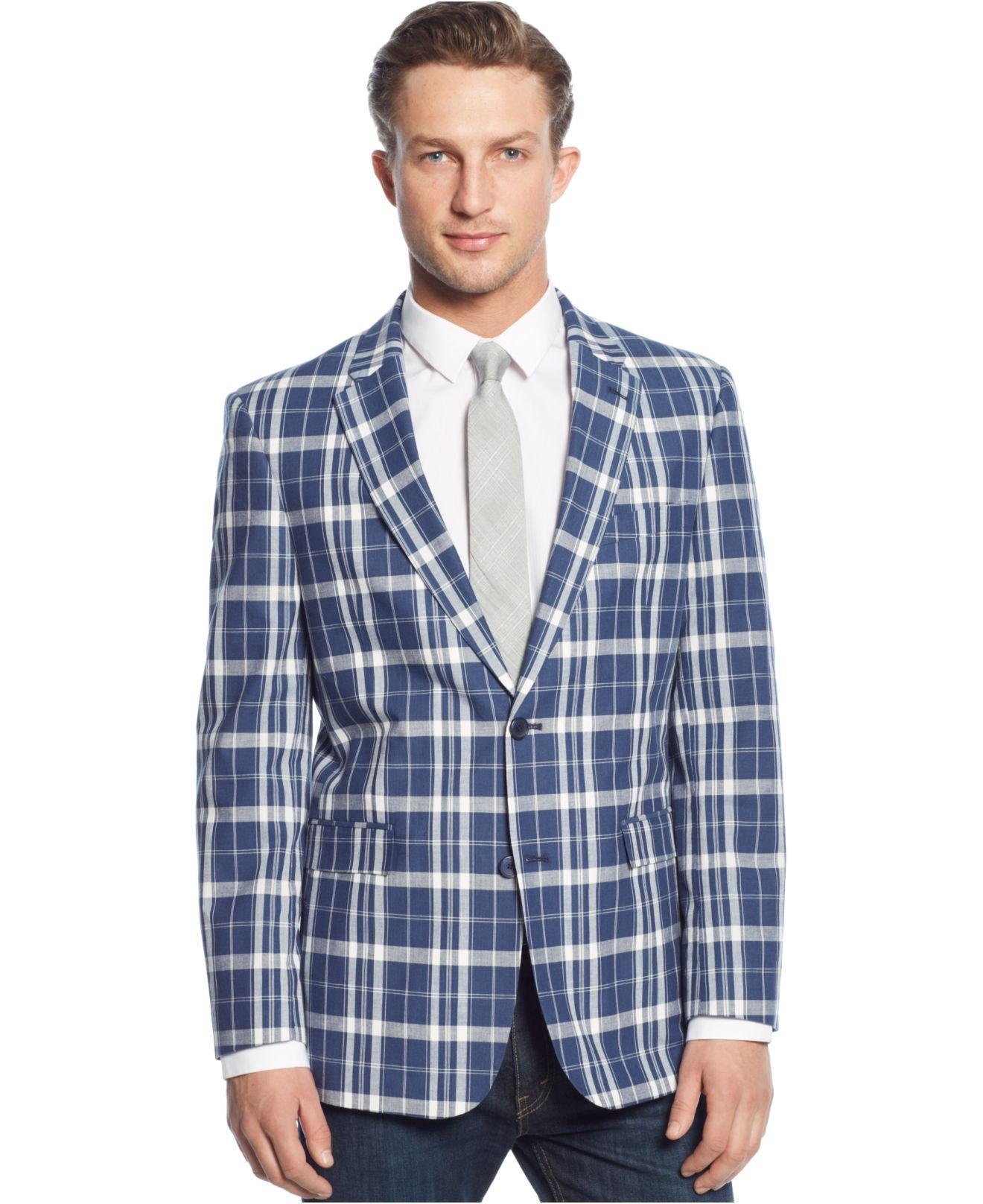tommy hilfiger trim fit blue white madras sport coat for. Black Bedroom Furniture Sets. Home Design Ideas