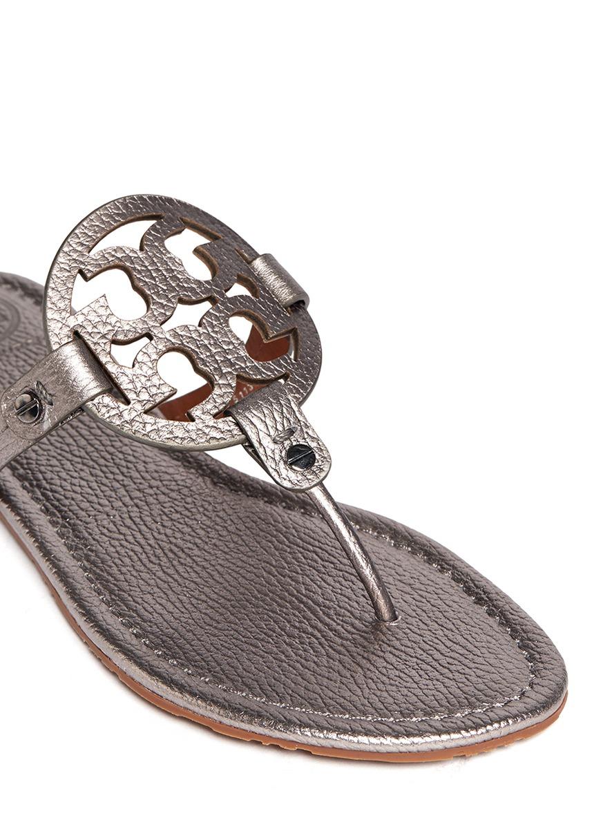 f2bf8b6bff0 Lyst - Tory Burch  miller  Metallic Logo Sandals in Metallic