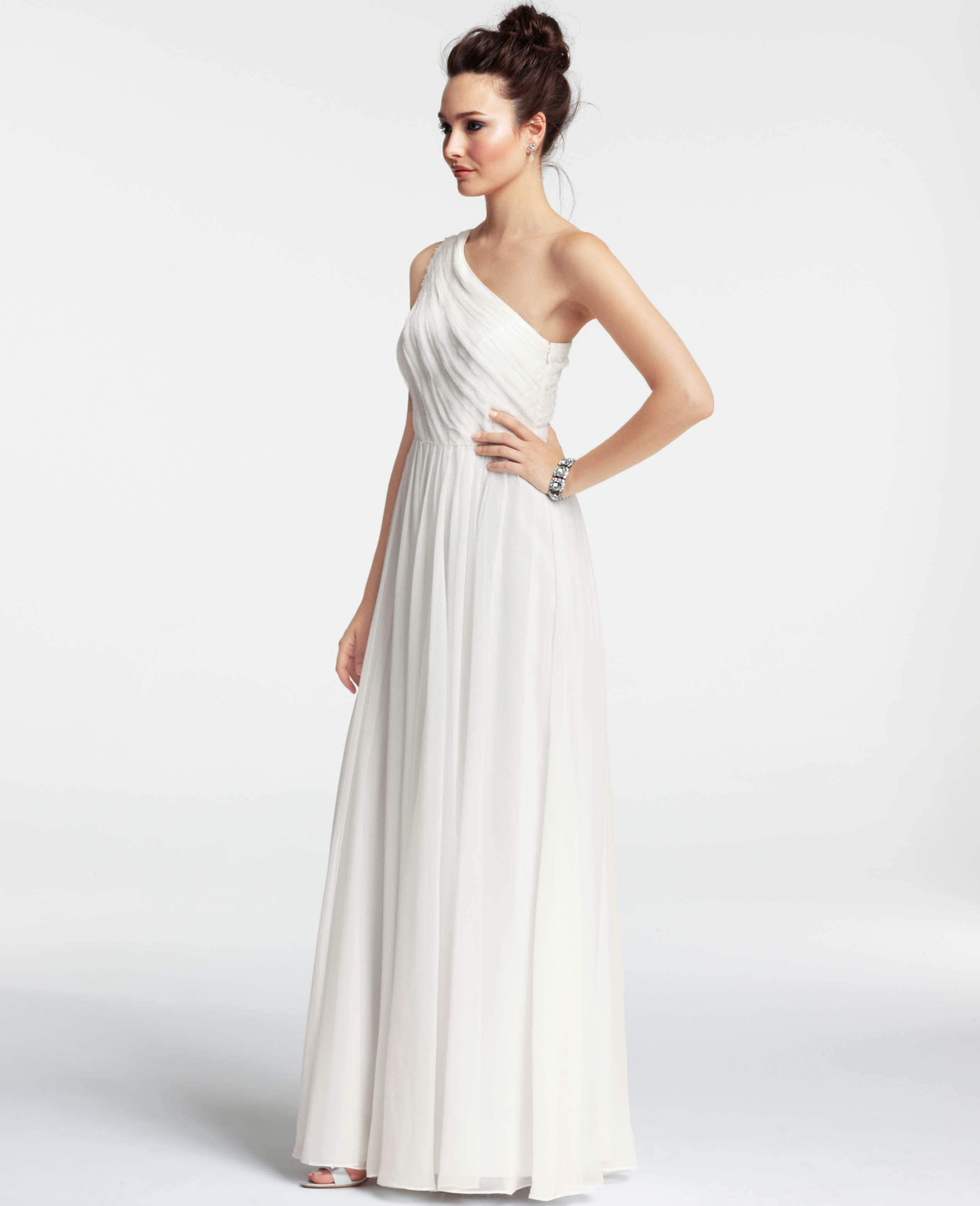 Ann taylor silk georgette pleated one shoulder gown in for Ann taylor dresses wedding