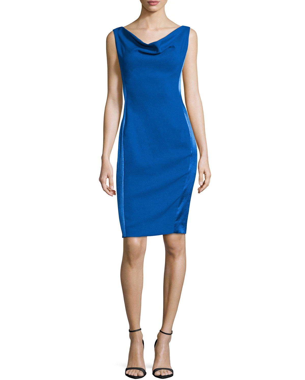 Cowl Neck Sheath Dresses: Rene Ruiz Synthetic Sleeveless Cowl-neck Sheath Dress In