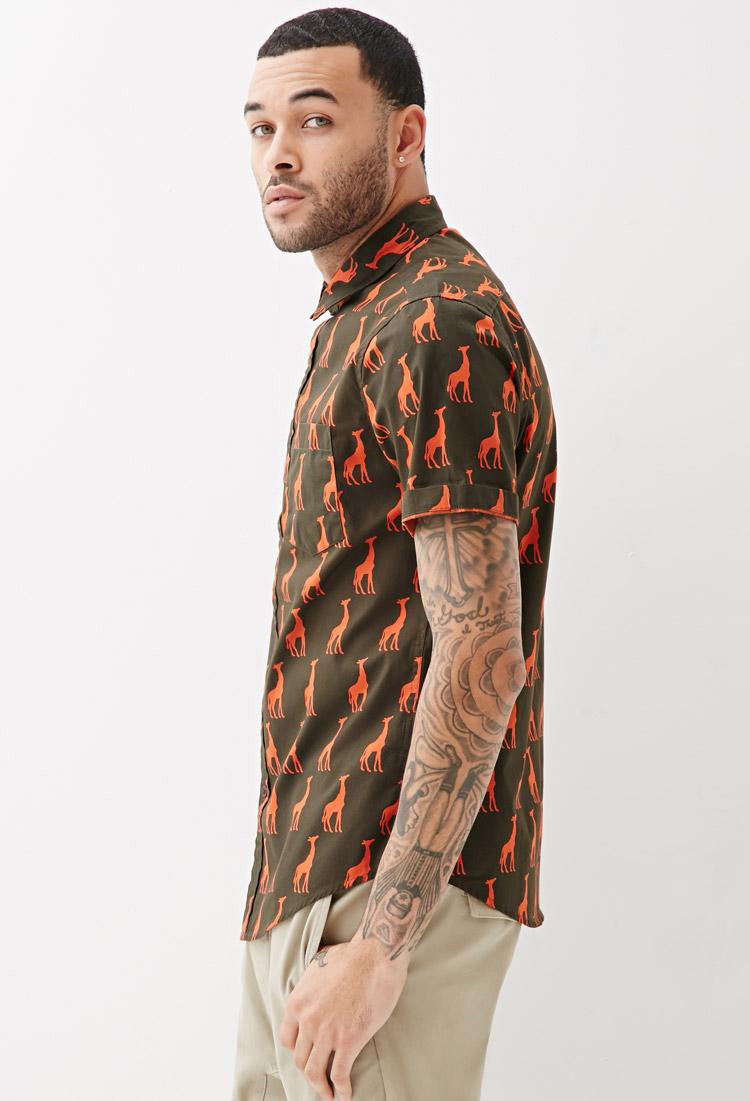c6c67bc936 Forever 21 Giraffe Print Collared Shirt In Green For Men
