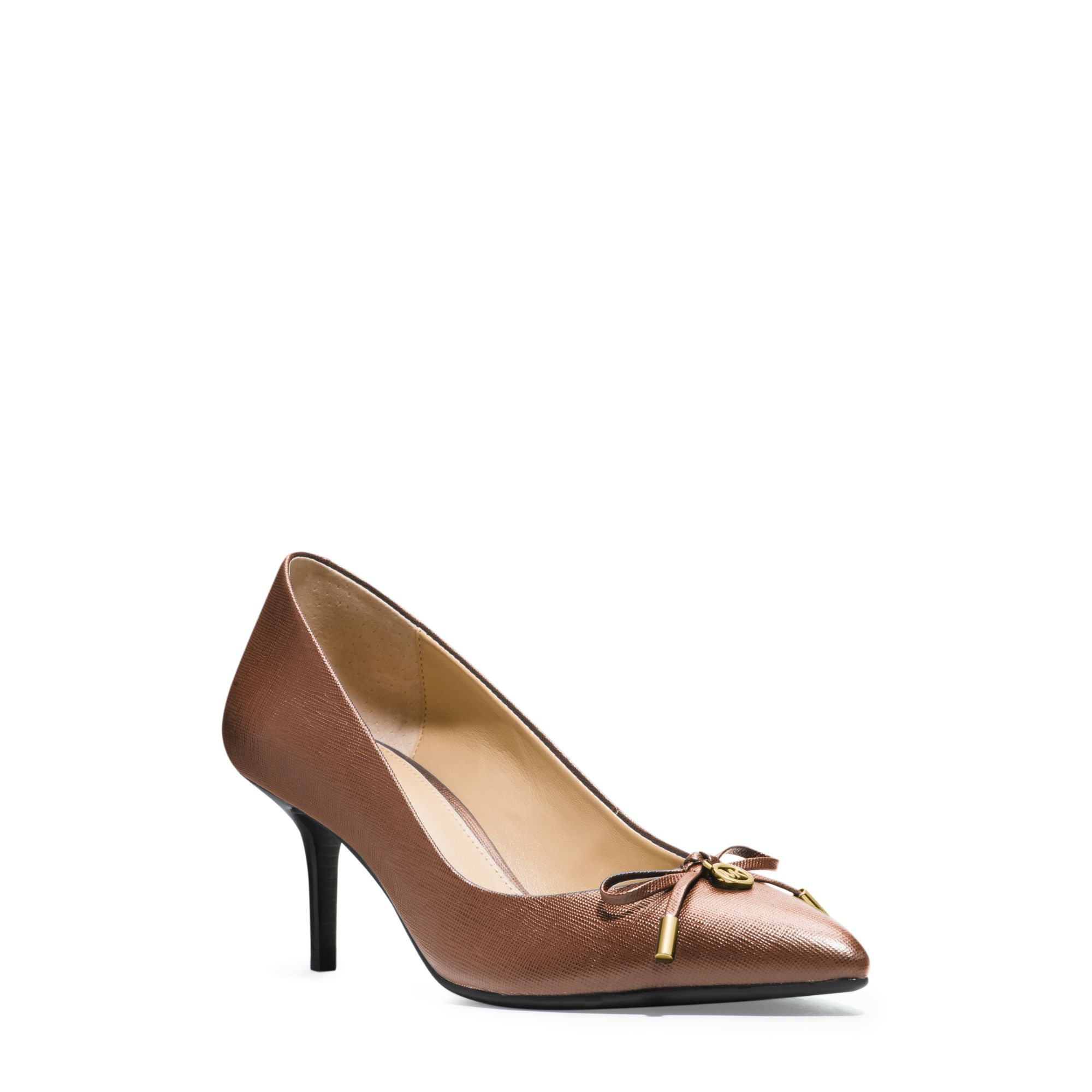 michael kors nancy saffiano leather pump in brown lyst. Black Bedroom Furniture Sets. Home Design Ideas