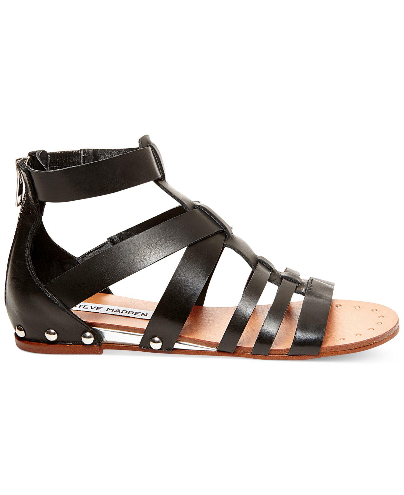 steve madden drastik flat gladiator sandals in black lyst. Black Bedroom Furniture Sets. Home Design Ideas