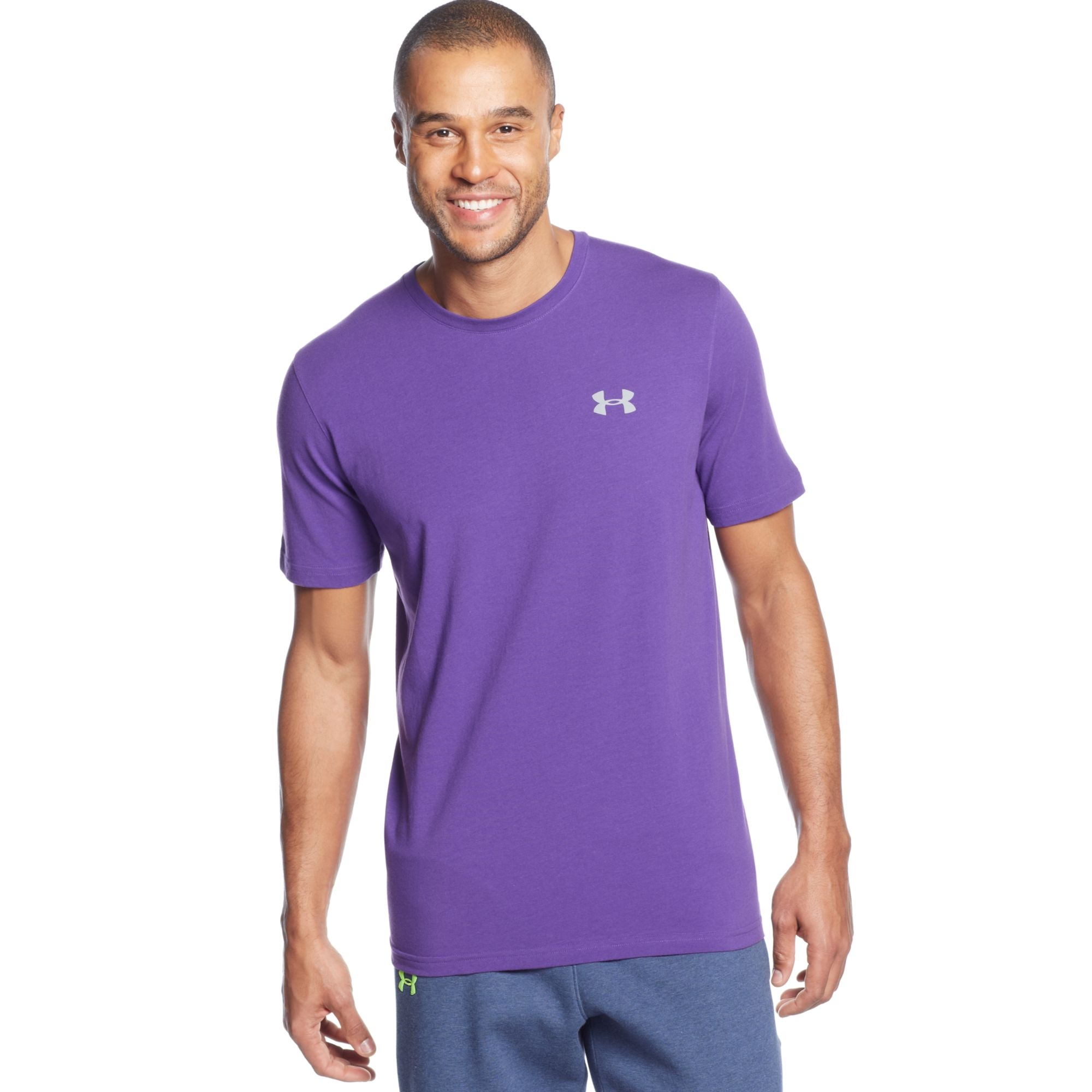 Under armour charged cotton tshirt in purple for men lyst for Under armour charged shirt