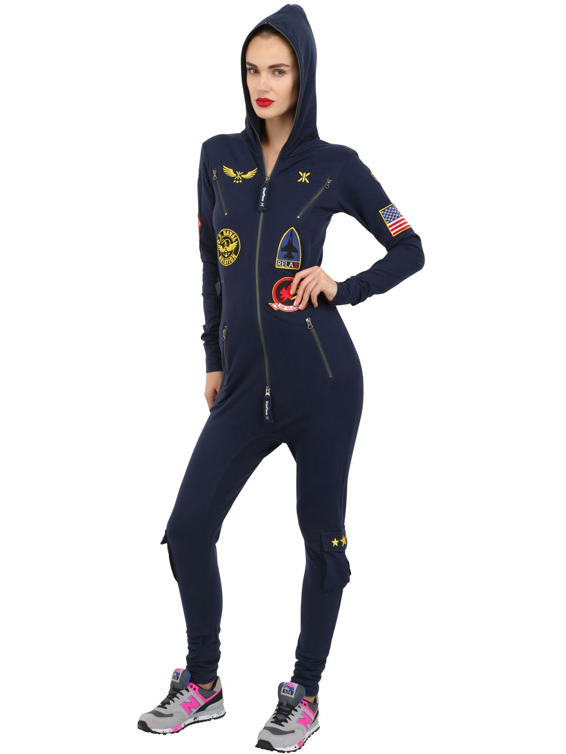 6db4f42fa946 Lyst - OnePiece Aviator Cotton Jumpsuit in Blue